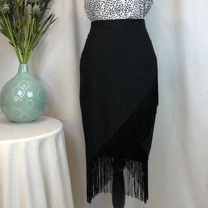 EUC Flamingo Style, Fake Wrap W/ Fringe Blk Skirt